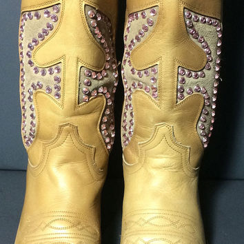 FRYE 77788 Daisy Duke Crystals Antique Gold Leather Cowgirl Western Boots Women's Size 6