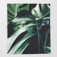 Monstera Deliciosa Throw Blanket by lostanaw