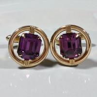 Jeweled Cufflinks Purple Rhinestones Glass Swank Cufflinks Gold Plated Round Cufflinks Floating Jewel Illusion Setting Prong Set Glass Stone