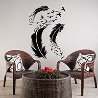 Feather Wall Decal Flock of Birds Vinyl Sticker Decals Home Decor Bedroom Art Design Interior NS956