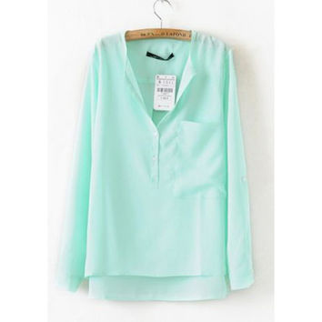 Green Dipped Hem Blouse with Front Pocket