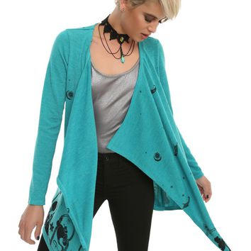 Licensed cool Disney Aladdin Jasmine Teal Drape Open Cardigan Sweater Genie Sultan Palace NWT