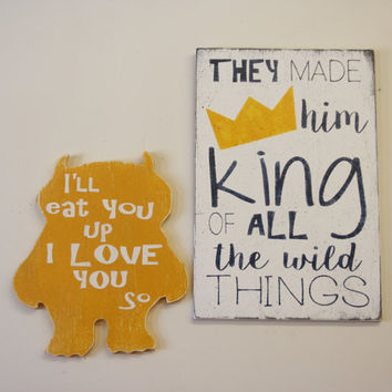 Nursery Sign Where The Wild Things Are Nursery King Of All The Wild Things Wood Sign Navy And Yellow Nursery Nursery Wall Art Baby Gift