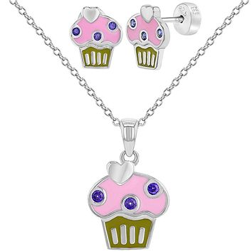 925 Sterling Silver Multicolor Enamel Cupcake Set Necklace Earrings Girls