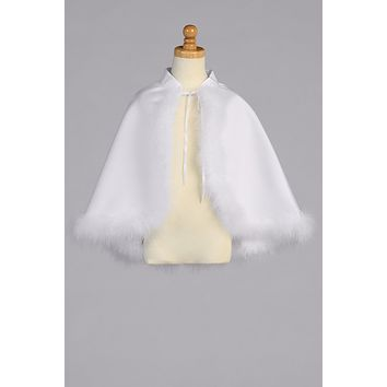 Girls White Satin Marabou Feather Trimmed Cape 5-14