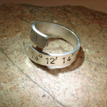 Latitude longitude sterling silver bypass ring with personalized coordinates