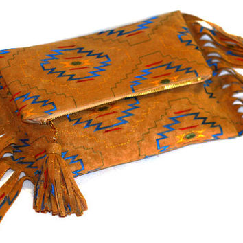 Aztec Clutch Bag. Navajo Purse. Tribal Fold Over. Fringe Clutch. Ethnic Embroidery. FoldOver clutch. Free US Shipping