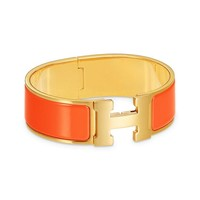 HERMES Auth Clic Clac H Enamel Bracelet Bangle Orange Gold GP GM Size New #1416