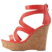 Tangerine Braided Strappy Platform Wedges by Charlotte Russe