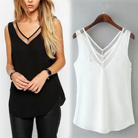 Hot Summer Women Chiffon Mesh Patchwork Sexy V-Neck Tops Casual Loose Sleeveless Shirts Blusas femininas