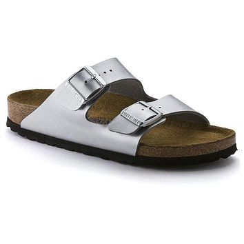 Birkenstock Arizona Soft Footbed Birko Flor Silver 550153 Sandals - Best Deal Online