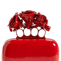 Alexander McQueen 'Lacquered Rose' Knuckle Box Clutch