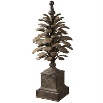 Pine Cone Finial - Antiqued Aged Ivory Finish