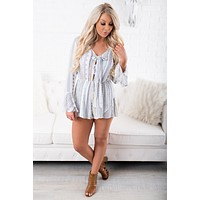 To Tie For Tie Front Romper (Blue)