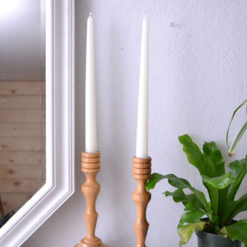 Vintage Wood Candlestick Holders large/mid century/minimal/farmhouse/boho/home decor