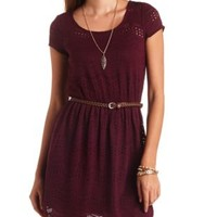 Keyhole Back Belted Crochet Dress by Charlotte Russe - Berry