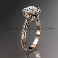 "14kt rose gold diamond floral wedding ring, engagement ring with a ""Forever Brilliant"" Moissanite center stone ADLR101"
