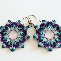 Macramè mandala flower earrings handmade boho hippie green purple