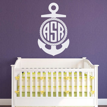 Personalized Nautical Monogram Wall Decal- Monogram Anchor Decal- Wall Decal Initial Monogram Letters Kids Baby Boys Bedroom Wall Decor M076