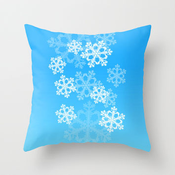 Cute blue snowflakes Throw Pillow by Silvianna