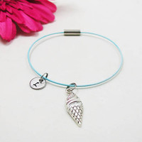 Ice Cream Cone Bracelet - Ice Cream Bangle - Initial Charm - Ice Cream Jewelry - Initial Bracelet - Custom Bracelet - Ice Cream Charm