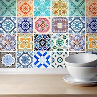 Traditional Spanish Tiles (Pack of 16) - Moon Wall Stickers