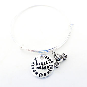 Inspirational Gift Quote Bangle Bracelet - A Dream is a Wish Your Heart Makes - Stamped Bracelet - Gift For Her