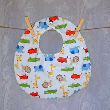 Hand Made Babies Bib Unisex for Boy or Girl Zoo Animals abstract primary coloured print on white, Lion, Tiger, Crocodile, Giraffe, Elephant