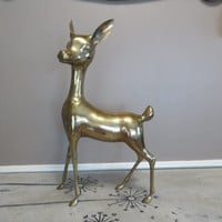 Large Brass Deer Vintage Brass Doe Woodland Deer Woodland Decor Brass Figurine Brass Animal
