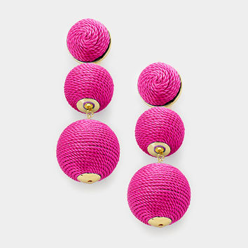 Fuchsia Bon Bon Style Earrings, Double Thread Ball Earrings, Triple Ball Drop Earrings, Drop Earrings, Silk Thread Wrapped Earrings