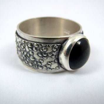 Men's Black Jade and Silver Ring / Men's Ring / Men's Jewelry