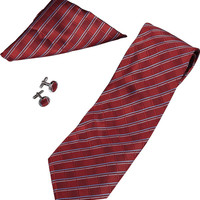 Marcus Red Stripe Pattern Tie -  Cufflinks and Pocket Square Gift Set