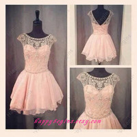 2014 short beaded bakless prom dress, event dress, cocktail dress, homecoming dress