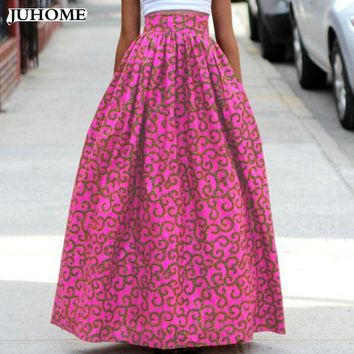 2017 Autumn winter Ladies Elegant High Waist Pleated Skirts Vintage Party african Printing Floor-Length Female Work long Skirts