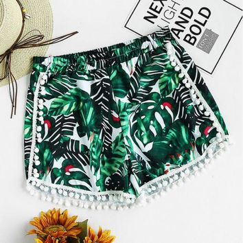 Tropical Pom Pom Shorts - Fashion Women Hot Pants Summer Casual Shorts High Waist Beach Sports Short Pants