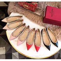 Valentino Fashion Women Casual Single Shoes Flat Pointy Shoes Multicolor I-AHD-HNXG-ZD