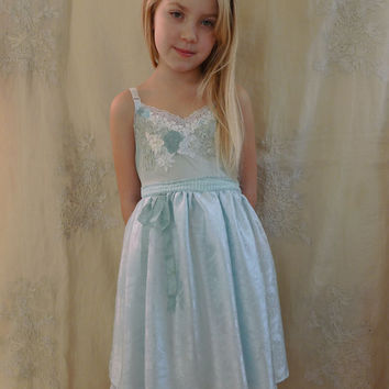 Opal Little Girl Slip Dress... Size 6/7... whimsical fairy flower girl tea party eco friendly vintage inspired lace blue aqua mint green