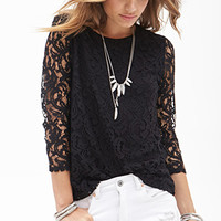 FOREVER 21 Crochet Lace Top