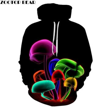 DD Adult Neon Mushroom 3D Print Pullover Hoodie With Pockets