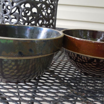 "Brown Stoneware Bowls 3 1/2"" and 3 3/8' Tall, Beautiful Farmhouse Collector Bowls, Stoneware Serving Bowls"