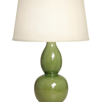 Gourd Ceramic Table Lamp with Antique Brass Base