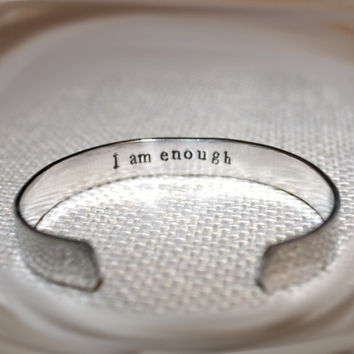 Secret Message Inspirational Custom Hand Stamped Aluminum Cuff Bracelet by Korena Loves