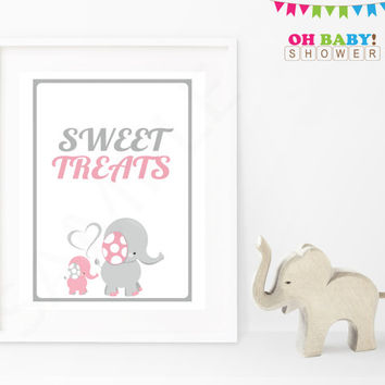 Elephant Baby Shower Sign Sweet Treats Baby Shower Sign Pink and Gray Printable Girl Download Baby Decor Baby Shower Table Sign EL0005-lp