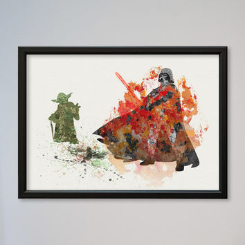 Darth Vader Yoda Poster Watercolor Print Fine Art Giclee Movie Poster Decor Star Wars Watercolor Lord Vader Star Wars Fans