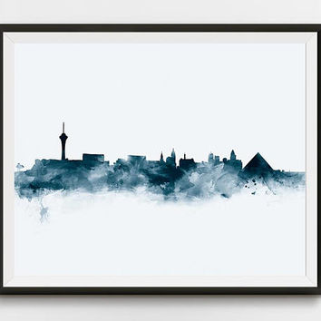 Las Vegas Print, Las Vegas Skyline, Nevada Cityscape, Poster, Wall Art, City, Watercolor, Caesars Palace, Home Decor, Gift, Digital Download