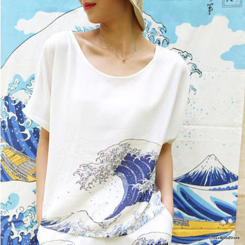 The Great Wave Tsunami Print Crepe de Chine Top, Japanese Art