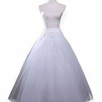 Udresses Full Length Petticoat Slips Bridal Tulle Crinoline Underskirt (One size, white)