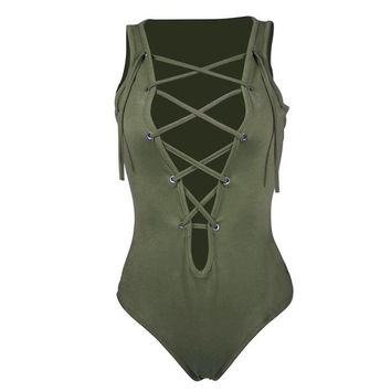 Bandage Sexy One Piece Outfits Women Sleeveless Hollow Out Deep V-Neck Summer Jumpsuit Women Jumpsuits & Rompers#A11 SM6