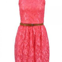 Coral Lace Sleeveless Dress with Brown Belt