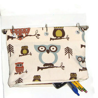 Owl Pencil Case for 3 Ring Binder -  by malibuquilts